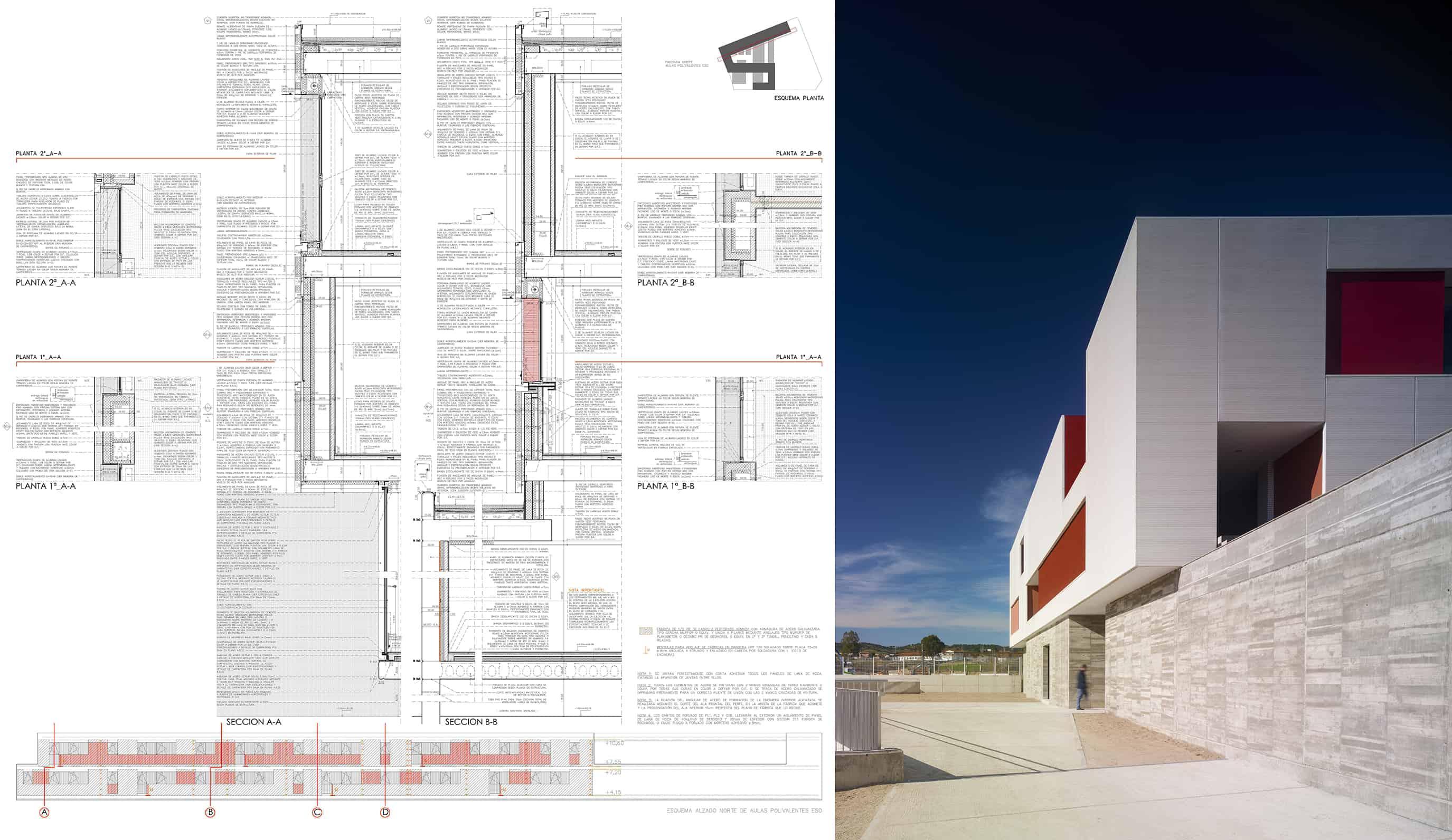 IES Coria - sección constructiva - arquitectura escolar - LANDÍNEZ+REY | eL2Gaa
