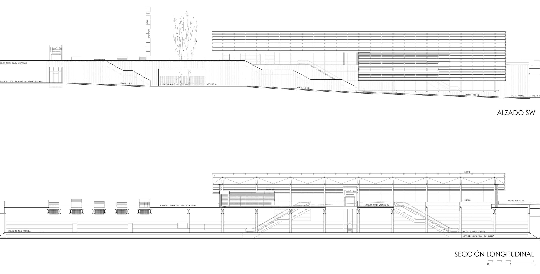 Alzados Estación METRO - arquitectura de transporte - LANDÍNEZ+REY | eL2Gaa