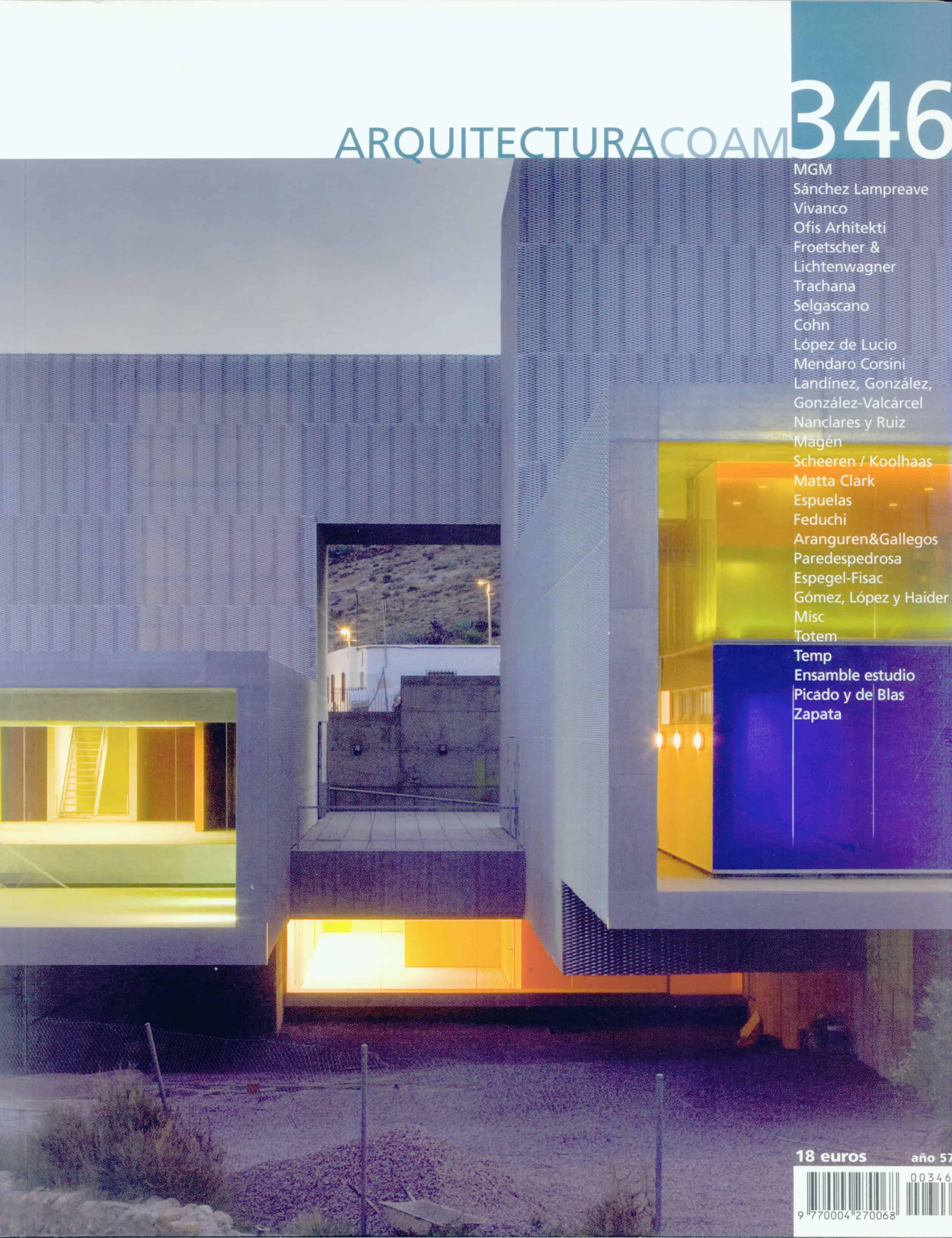 obra publicada -COAM revista ARQUITECTURA 346 LANDINEZ+REY arquitectos